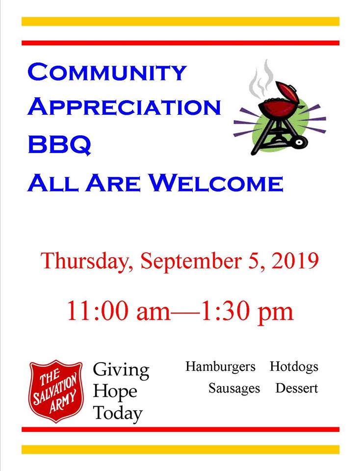 THURSDAY, September 5th - Community Appreciation BBQ | Come down and help us celebrate the community! This event is a free BBQ, everyone is welcome.* Hosted by The Salvation Army - Cranbrook