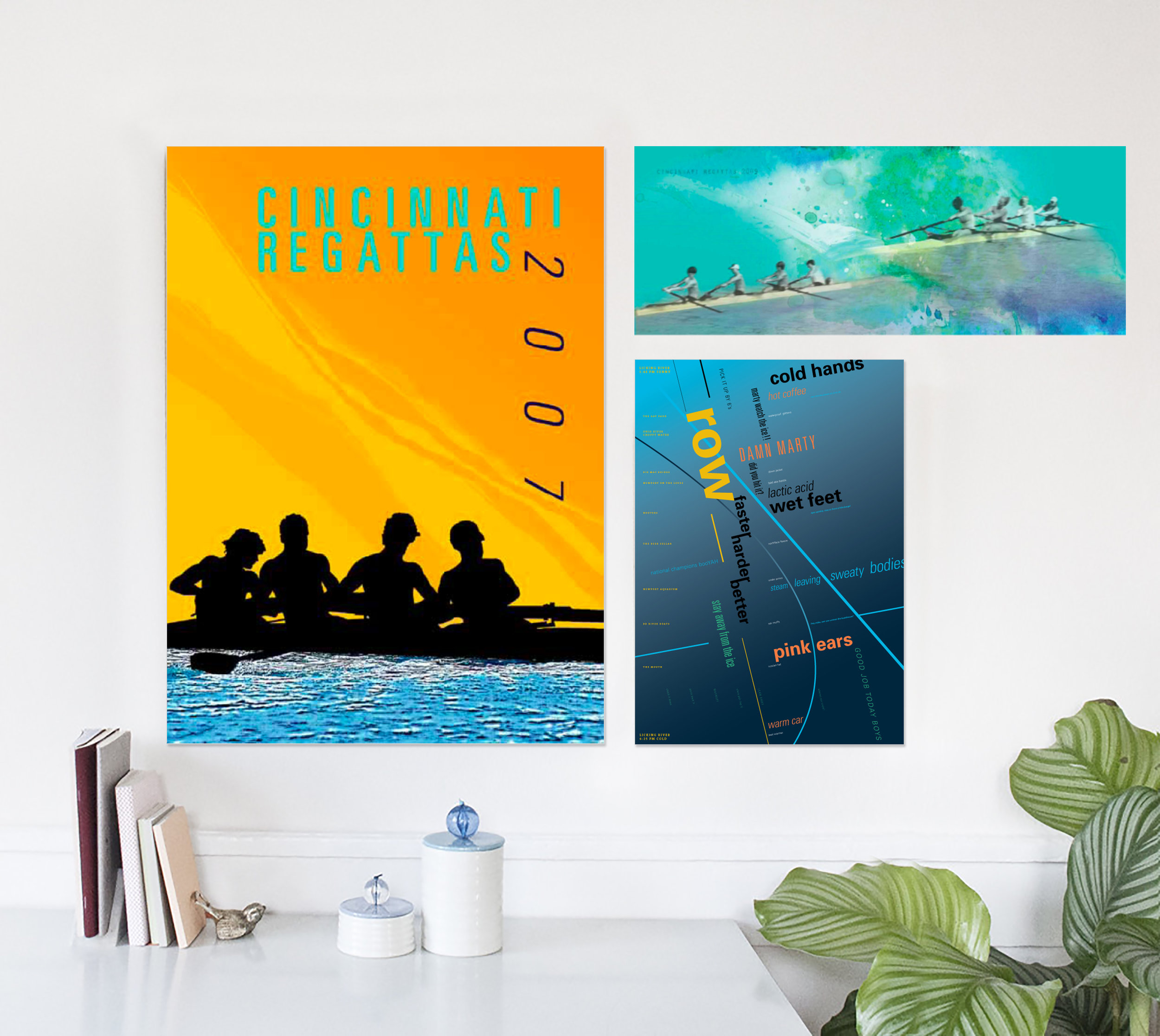 Various rowing posters (Left to right: 2007, 2009, 2006)