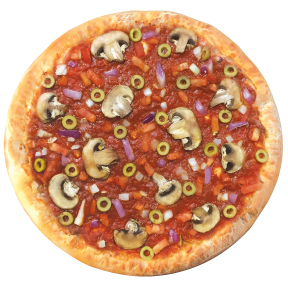 Vegan  traditional sauce, red onion, tomato, mushroom, green olive. NO CHEESE.