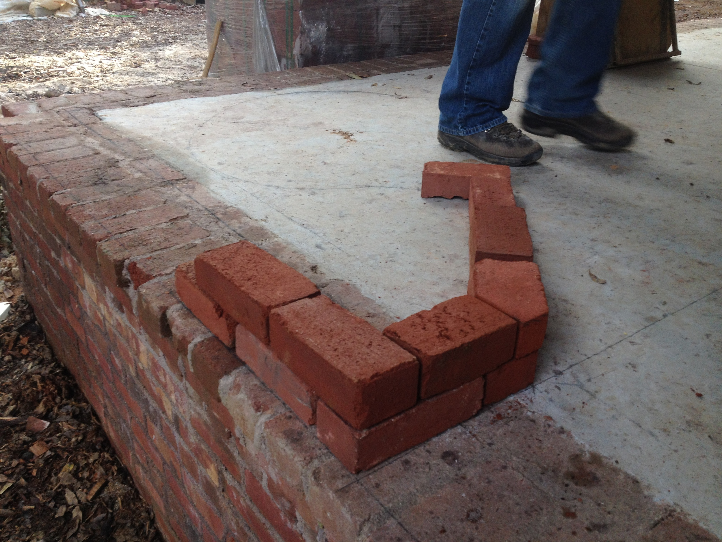 structural masonry, mapping out the coursework of outside fireplace