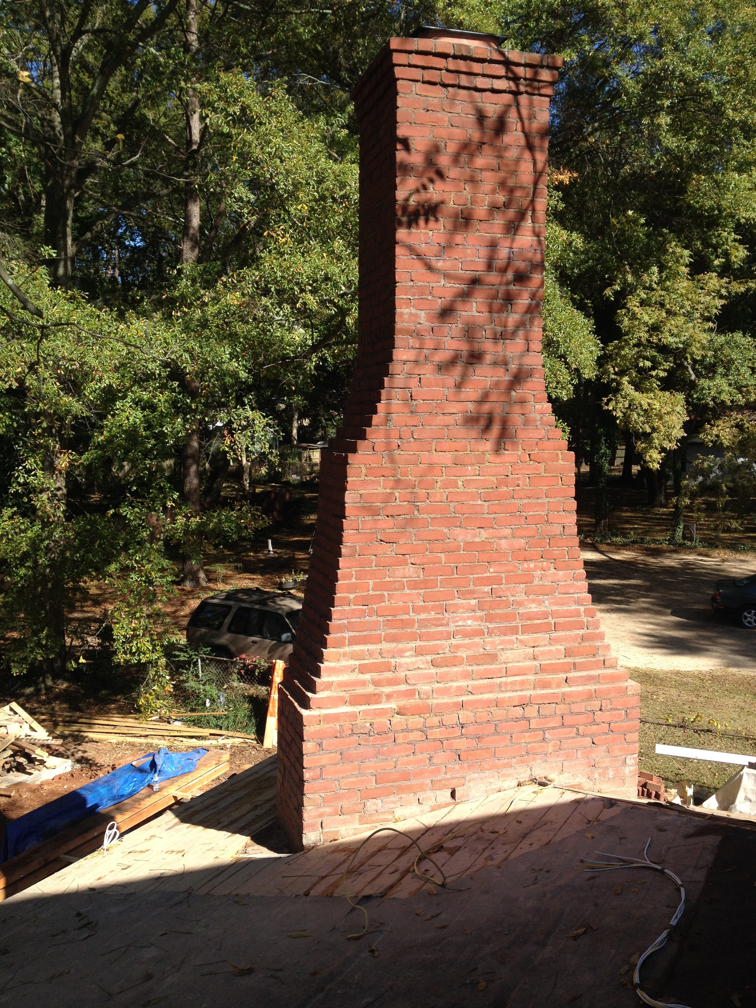 structural masonry, completed chimney on outside fireplace