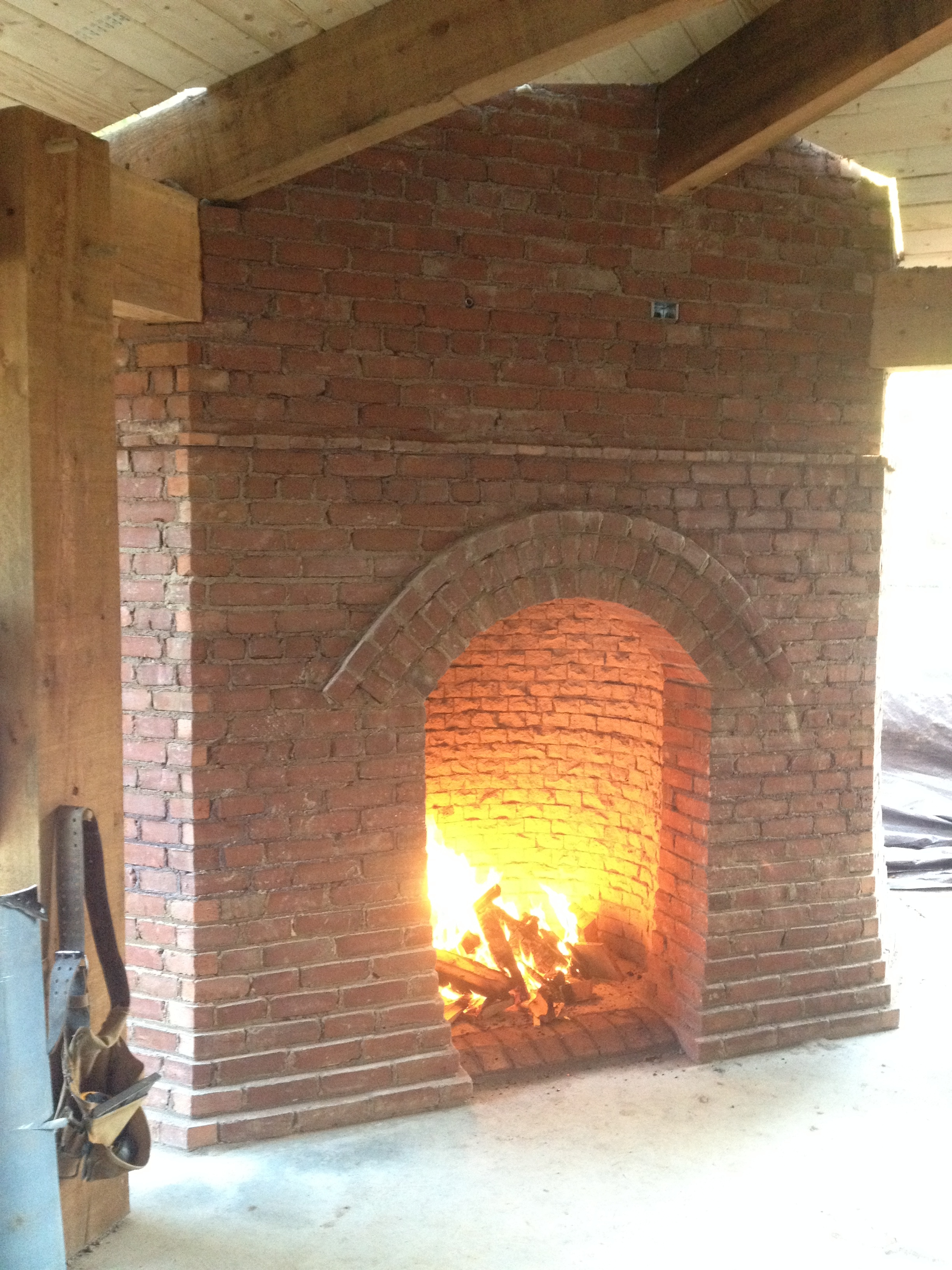 structural masonry, outside fireplace pilot fire