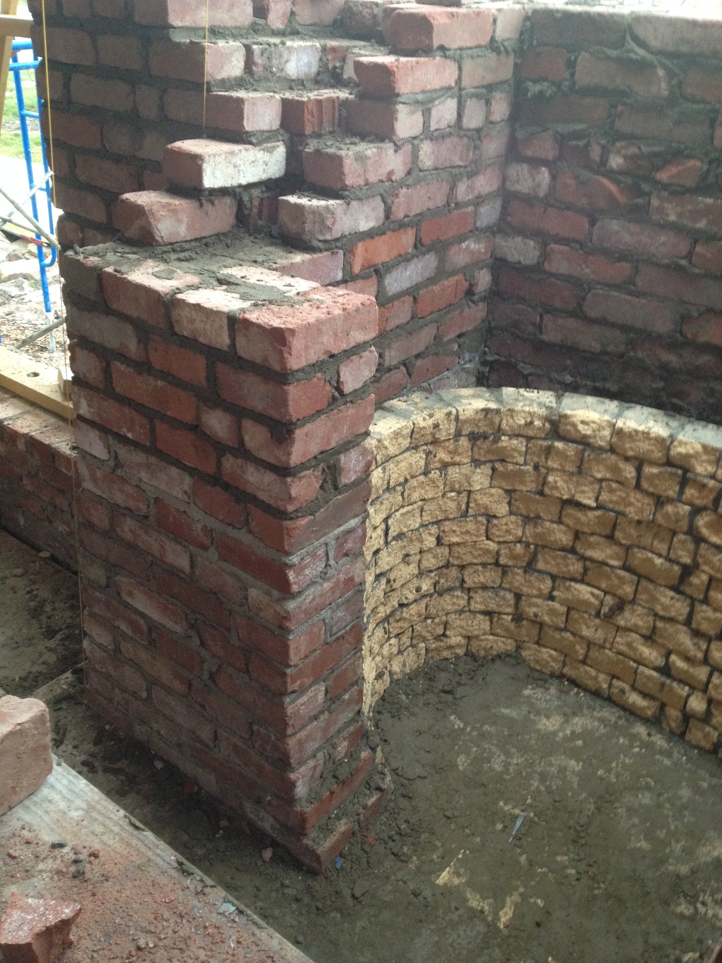 structural masonry, massing out a fireplace's firebox