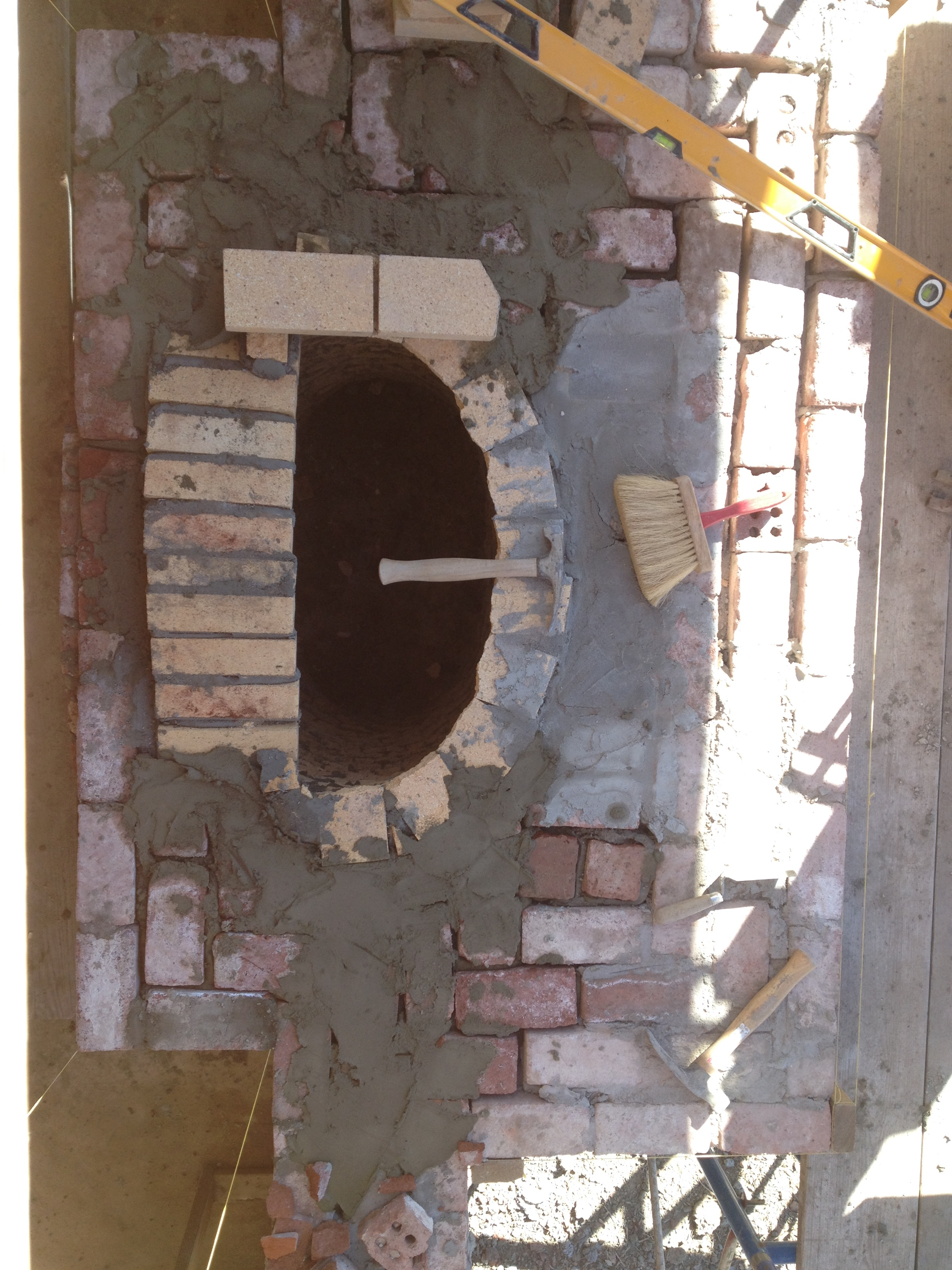 structural masonry, bird's eye view of massing out of a fireplace's smoke chamber