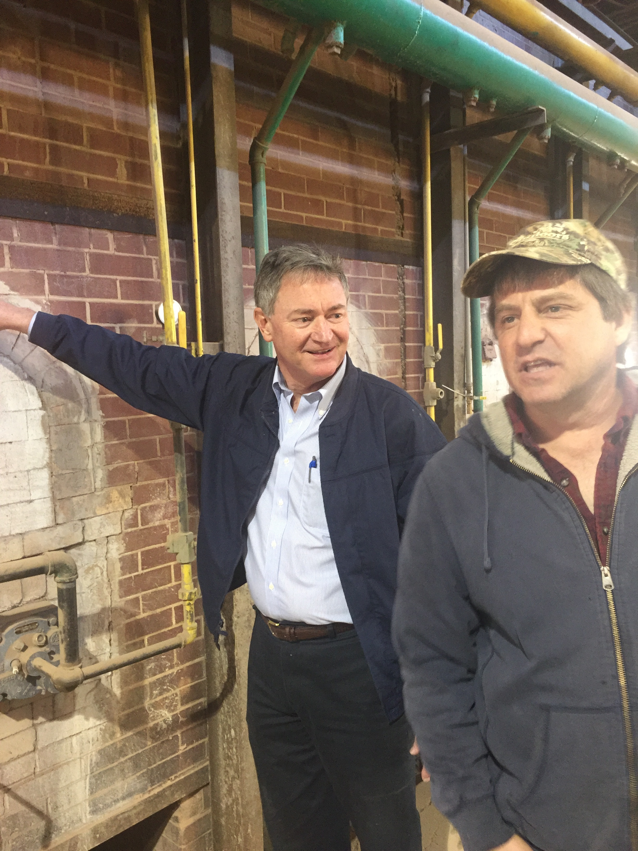 President David Frame and Plant Manager Chris Blackwell discussing the 48 hour brick baking process.