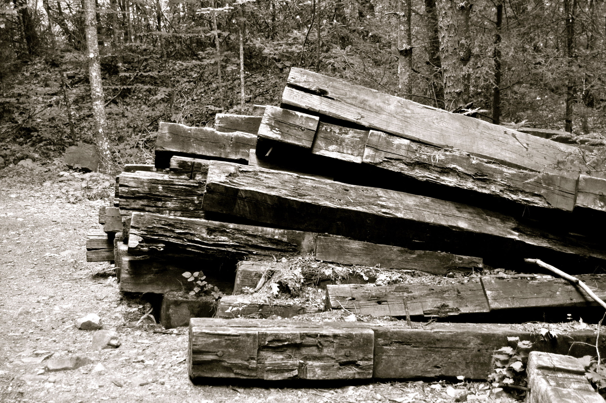 Old railroad ties piled up outside of Whitetop, Virginia.