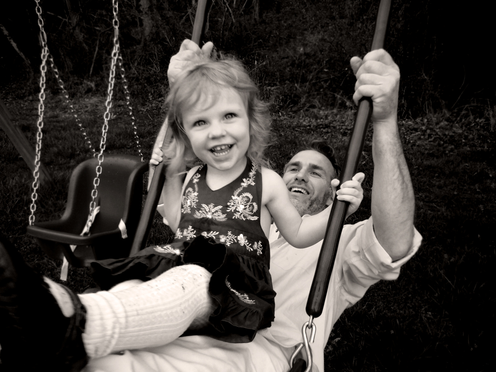 """My late """"Uncle"""" Colin Devlin, an NYC restaurateur,with his daughter Lulu on their farm in Pennsylvania, Easter 2011."""