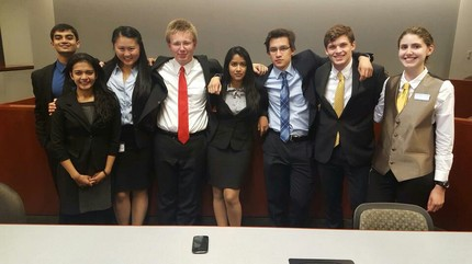 On October 17-18th, the B and C Teams competed at the Market Street Invitational in the first tournament of our season. The tournament was very competitive with 22 teams in the field including teams from UMD, UPenn, and George Washington. The B-Team finished with a record of 5-3 which put them just shy of a top 6 ranking and brought home 4 awards, 2 top attorneys and 2 top witnesses. The C-Team finished with a record of 2-6 but carried an impressive CS of 20.5. Both teams performed well and are looking forward to their next Tournaments where they hope to capitalize on the experience they gained in Philadelphia.