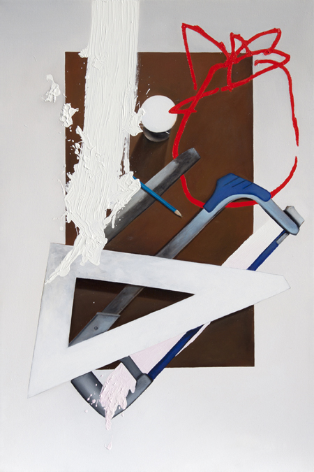 """Still Life with Action (from Shawn Hunt studio visit) 2013, 36"""" x 24, oil on canvas"""