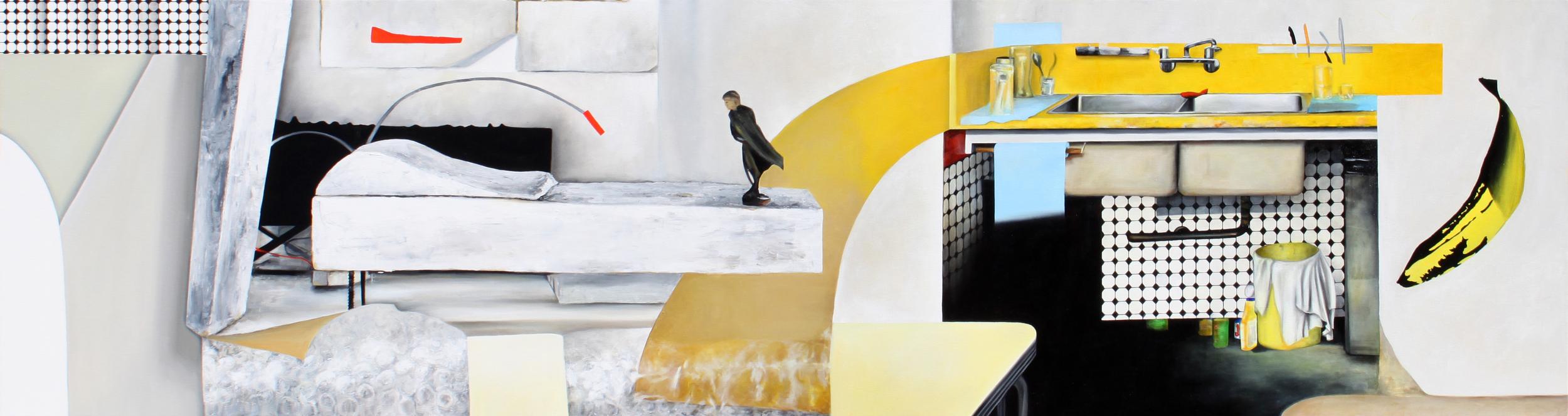 Domestic Scene, Victoria Drive (from Attila Richard Lukacs studio visit) 2014, 80cm x 300cm, Oil on canvas