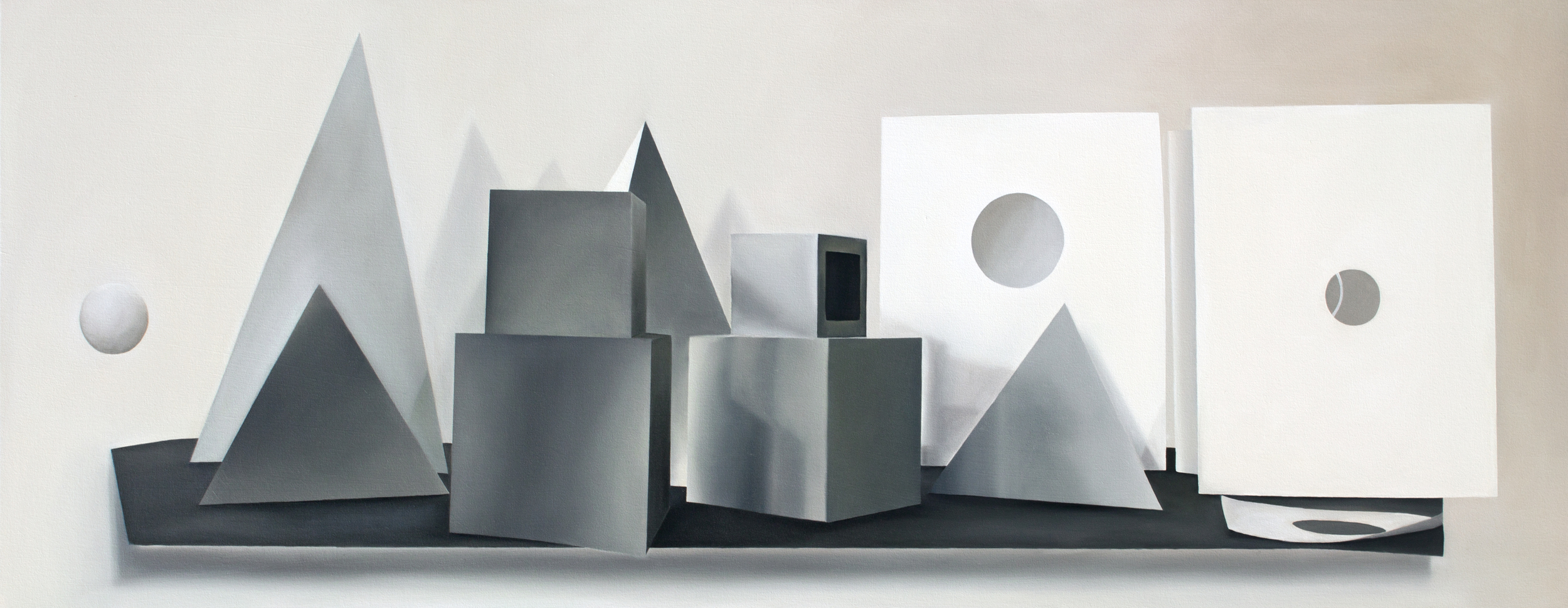 """The Geometric District (from Jessica Eaton studio visit) 2013, Oil on canvas, 28"""" x 72"""""""