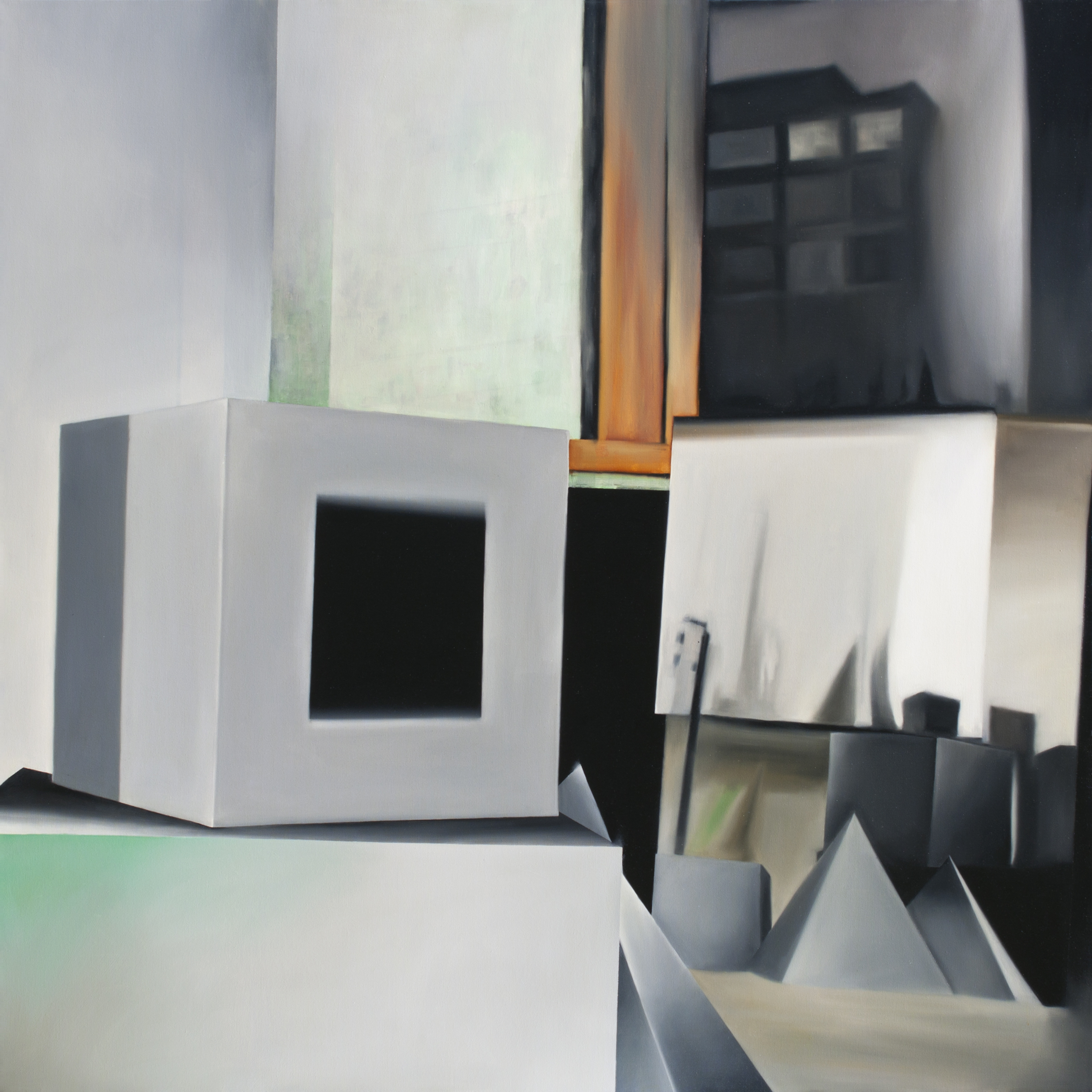 """24 Hours (from Jessica Eaton studio visit) 2014, Oil on canvas, 48"""" x 48"""""""