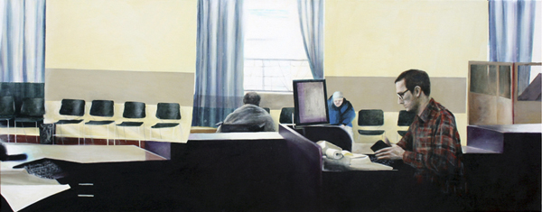 "PPSCU01, 2010. Oil on canvas, 24"" x 60"""