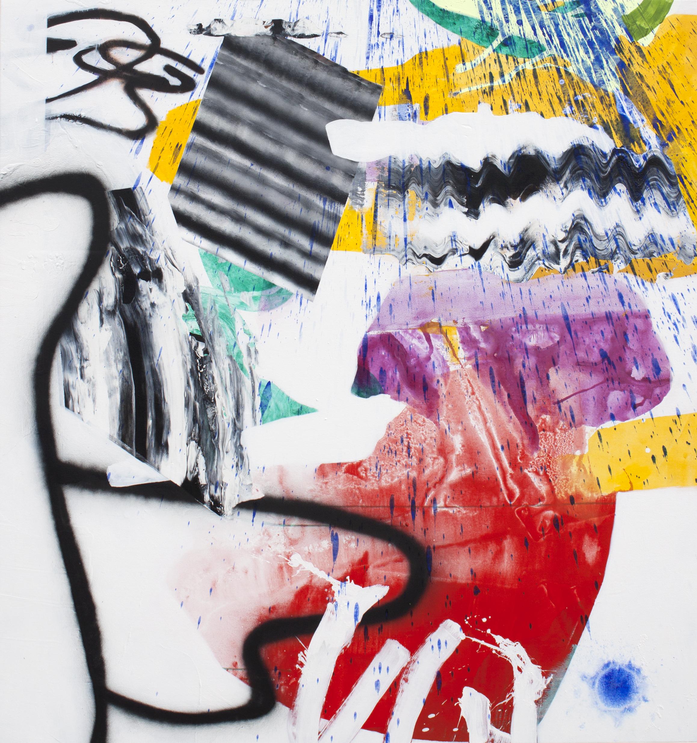 "Digital Synthesis 2014, acrylic and spray paint on canvas 64"" x 60"""
