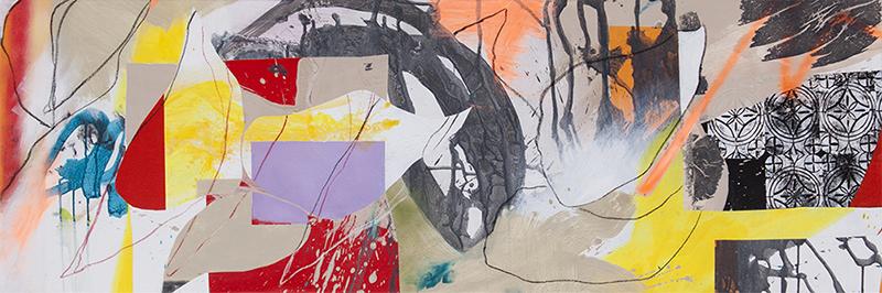 "#1 Mixed media on canvas. 20"" x 60"", 2017"