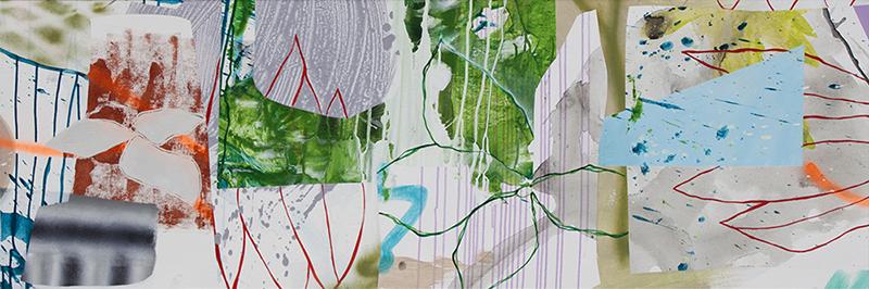 "#3 Mixed media on canvas. 20"" x 60"", 2017"