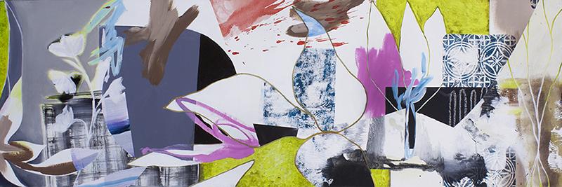 "#6 Mixed media on canvas. 20"" x 60"", 2017"
