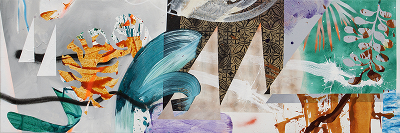 "#11 Mixed media on canvas. 20"" x 60"", 2017"