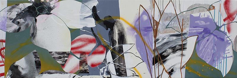 "#4 Mixed media on canvas. 20"" x 60"", 2017"