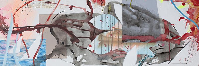 "#16 Mixed media on canvas. 20"" x 60"", 2017"