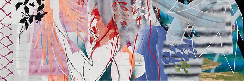 "#18 Mixed media on canvas. 20"" x 60"", 2017"