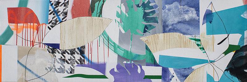 "#37 Mixed media on canvas. 20"" x 60"", 2017"