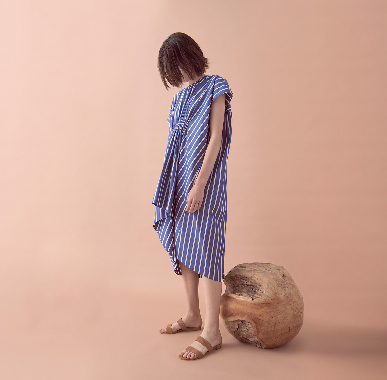 LOOK 04  –  STRIPED SHIRRING DRESS