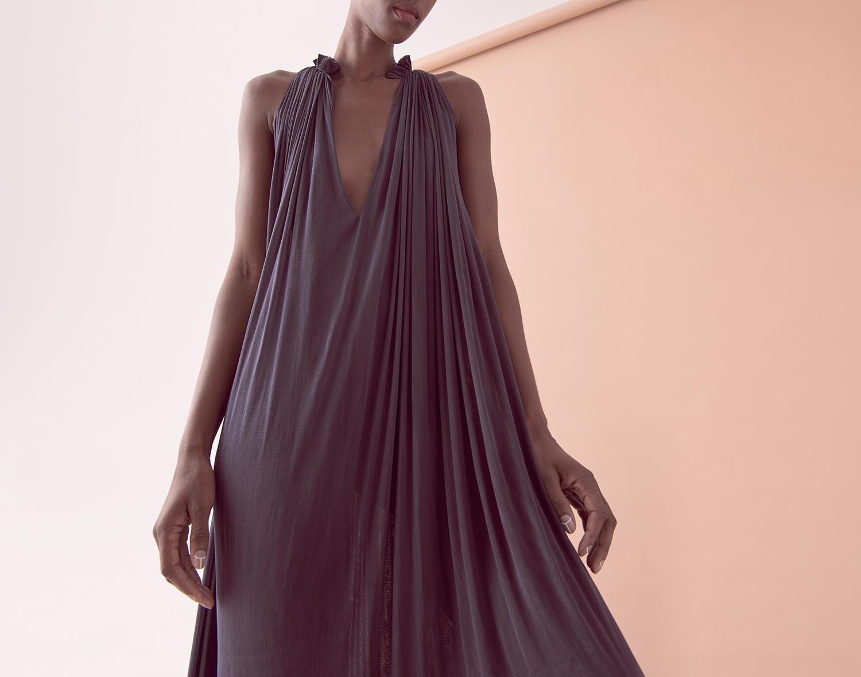 LOOK 08  –  SILK MESH STEP FRONT DRESS