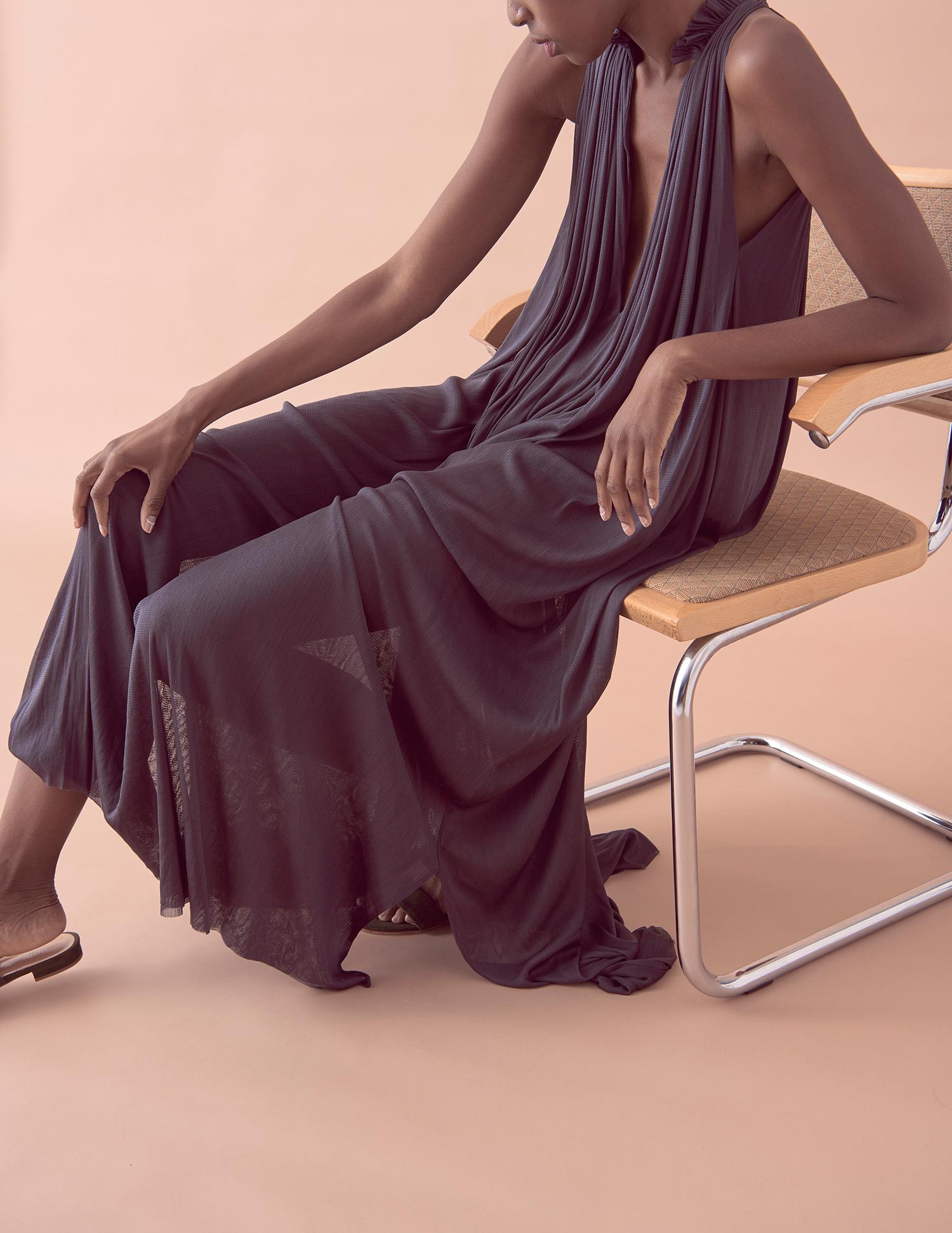 LOOK 12  –  SILK MESH STEP FRONT DRESS