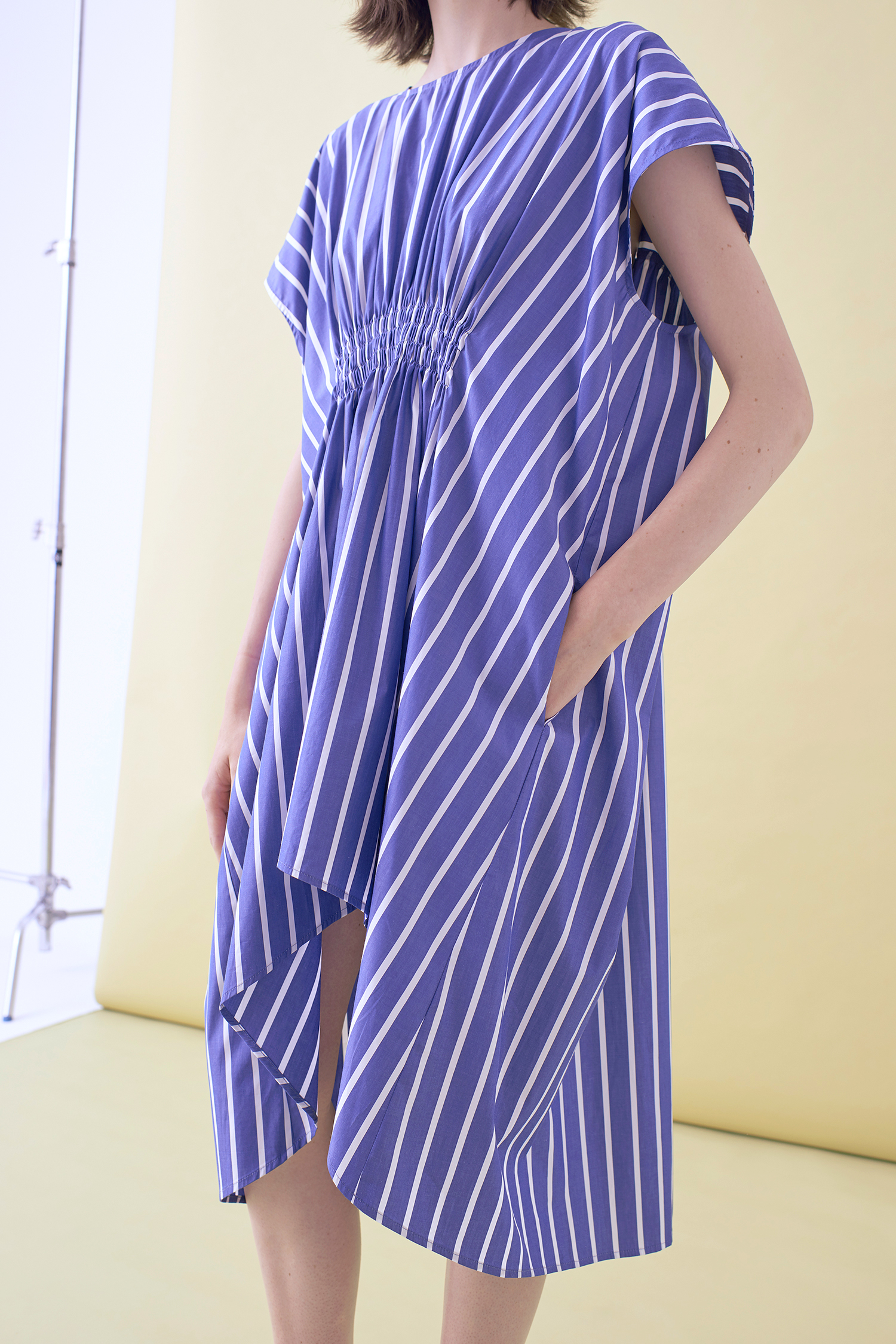 STRIPED SHIRRING DRESS   – IN STOCK