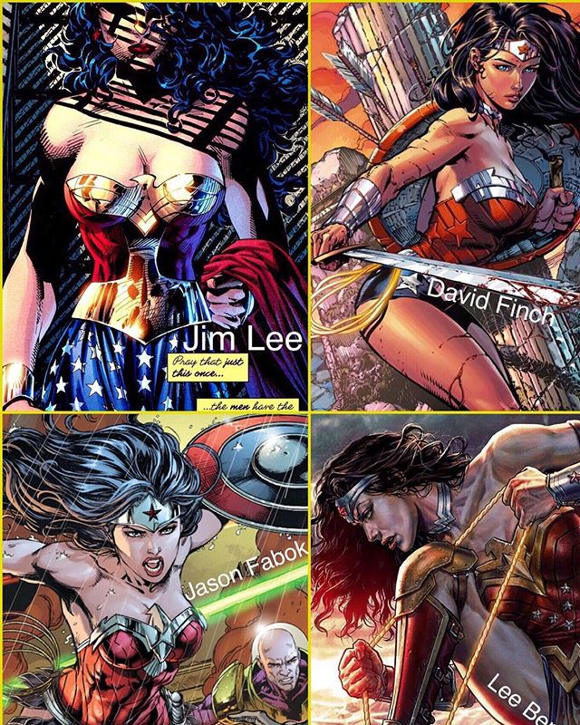 Wonder Woman by Jim Lee, David Finch, Jason Fabok and Lee Bermejo. Who is your fav?! DC has the best artists in the game and as a comic reader...I am very grateful for that! [ posted by @thebatcrap ] #Batman #TheBatForce #DarkKnight #Gotham #WonderWoman #SuicideSquad #HarleyQuinn #TheJoker #JusticeLeague #Marvel #StarWars #Podcast #DcComics #BatForceStrong