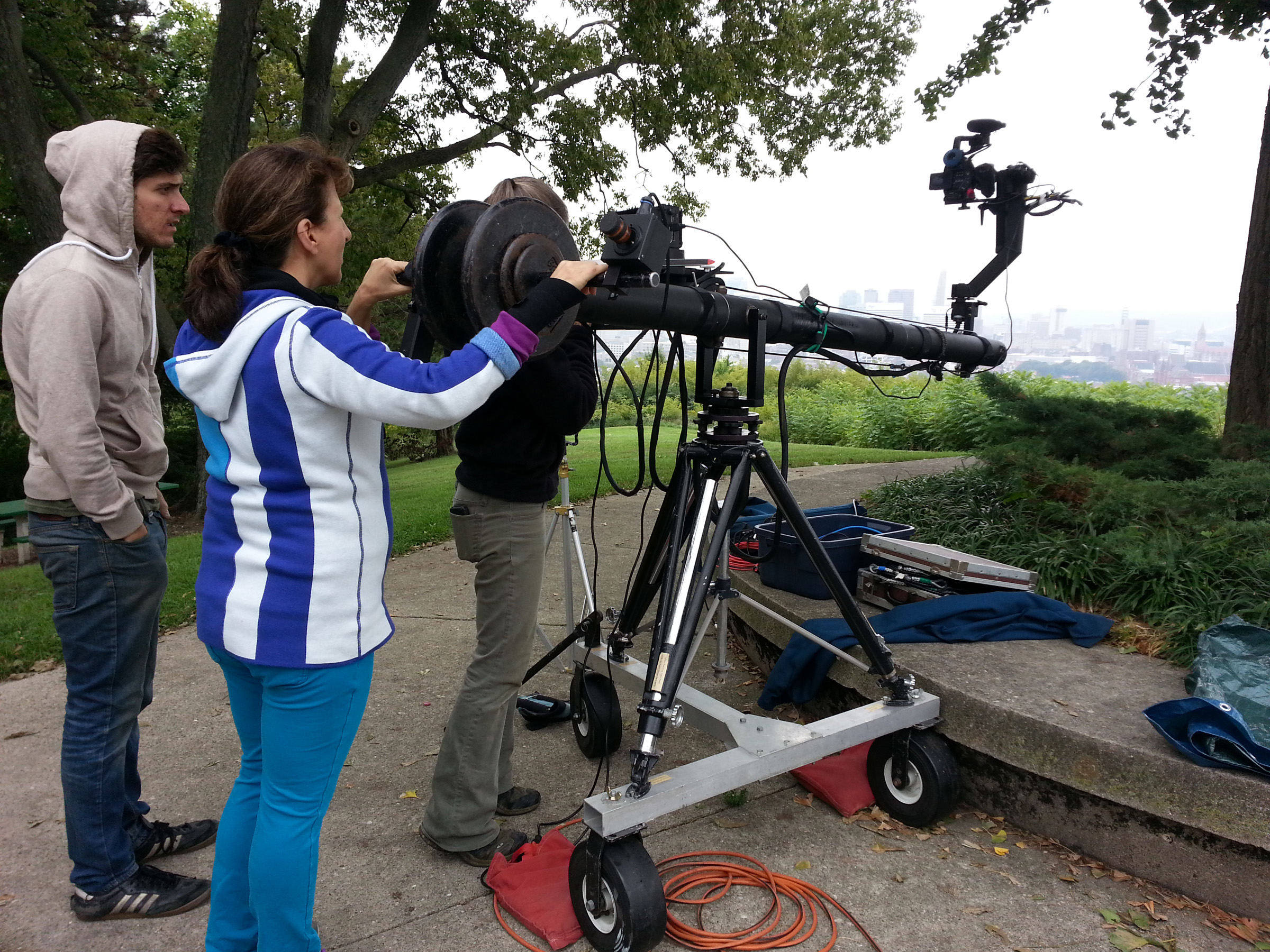 Andrea and crew Filming with Jib in Bellevue Park.jpg