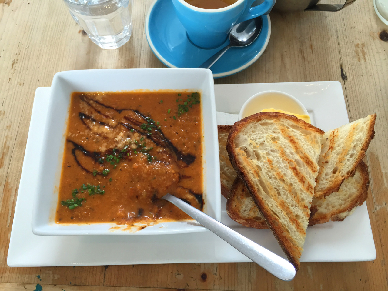 I had roasted tomato, dill and pesto soup with toasted sourdough bread. Yum!
