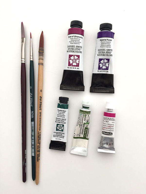 The paints and brushes I used.