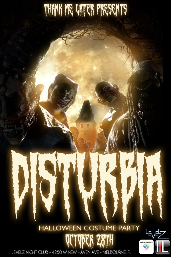 One of Stephen's most popular design work was for our annual Halloween costume party 'Disturbia'.