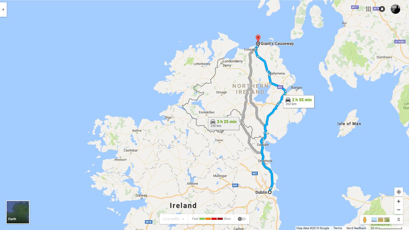 Dublin -> Giant's Causeway  (Google Maps)