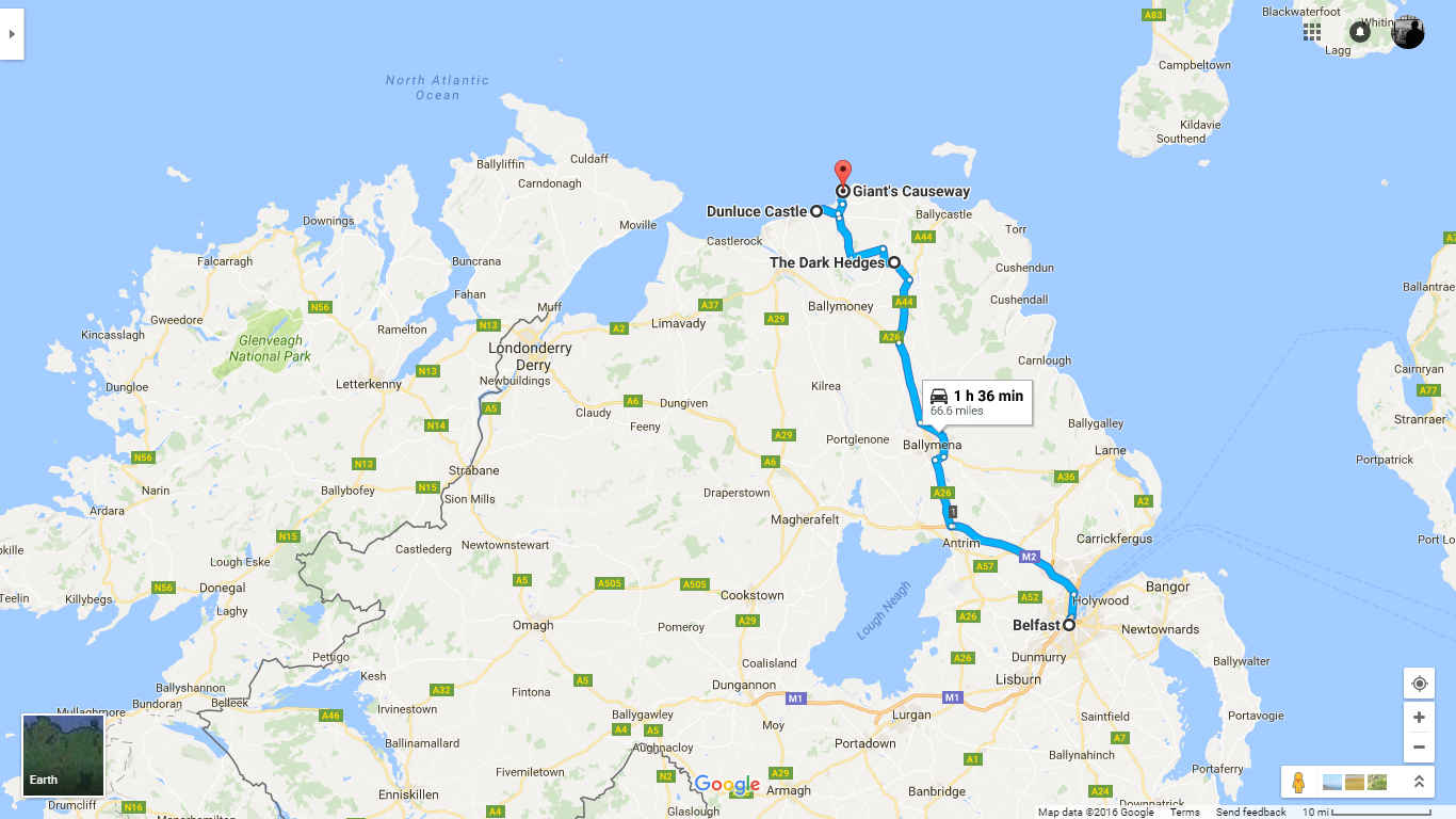 Belfast -> Dark Hedges -> Dunluce Castle -> Giant's Causeway  (Google Maps)