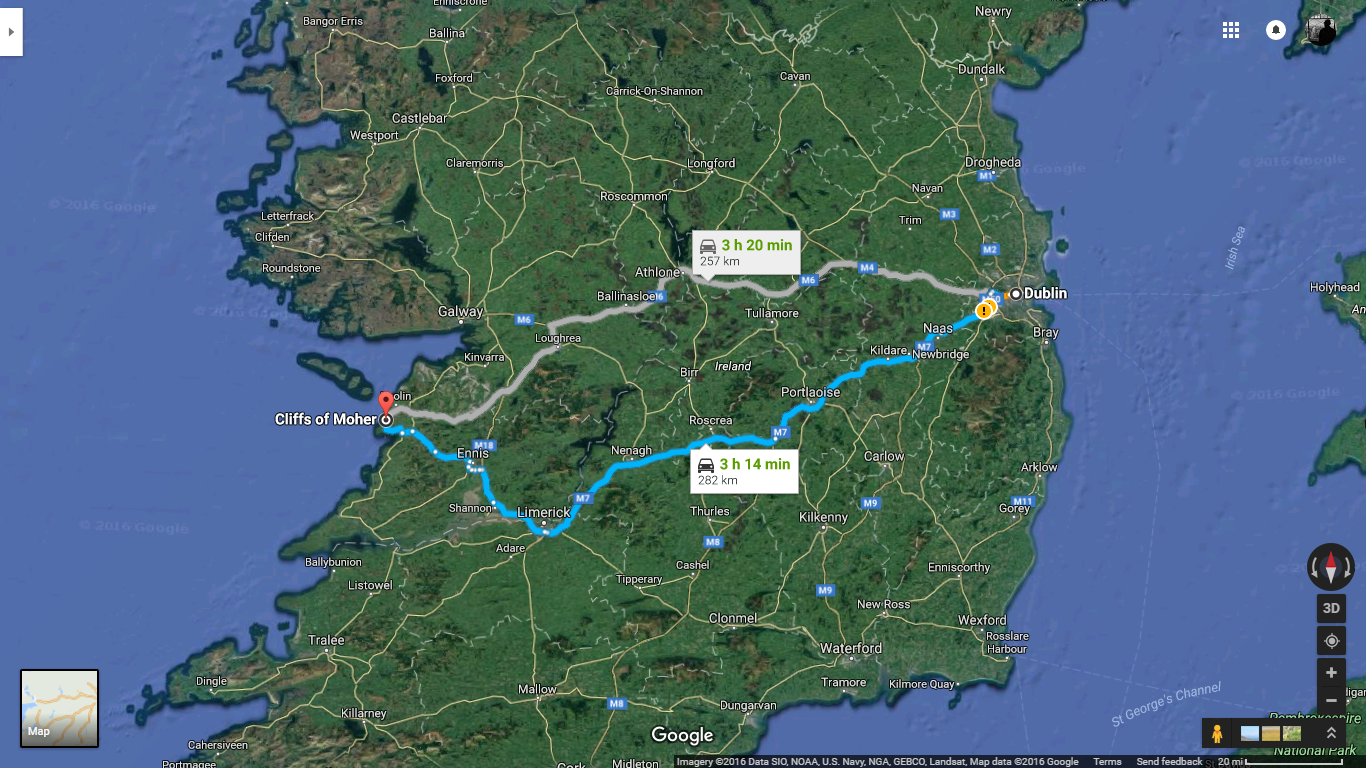 Dublin -> Cliffs of Moher  (Google Maps)