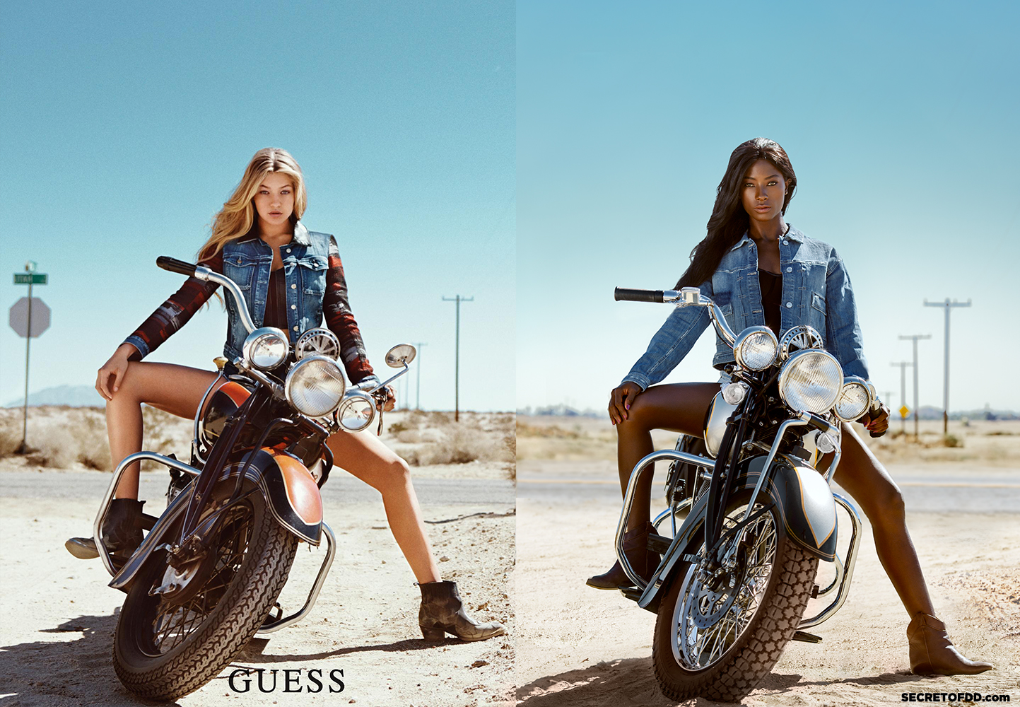 Gigi Hadid (L) / Deddeh Howard (R) – Guess