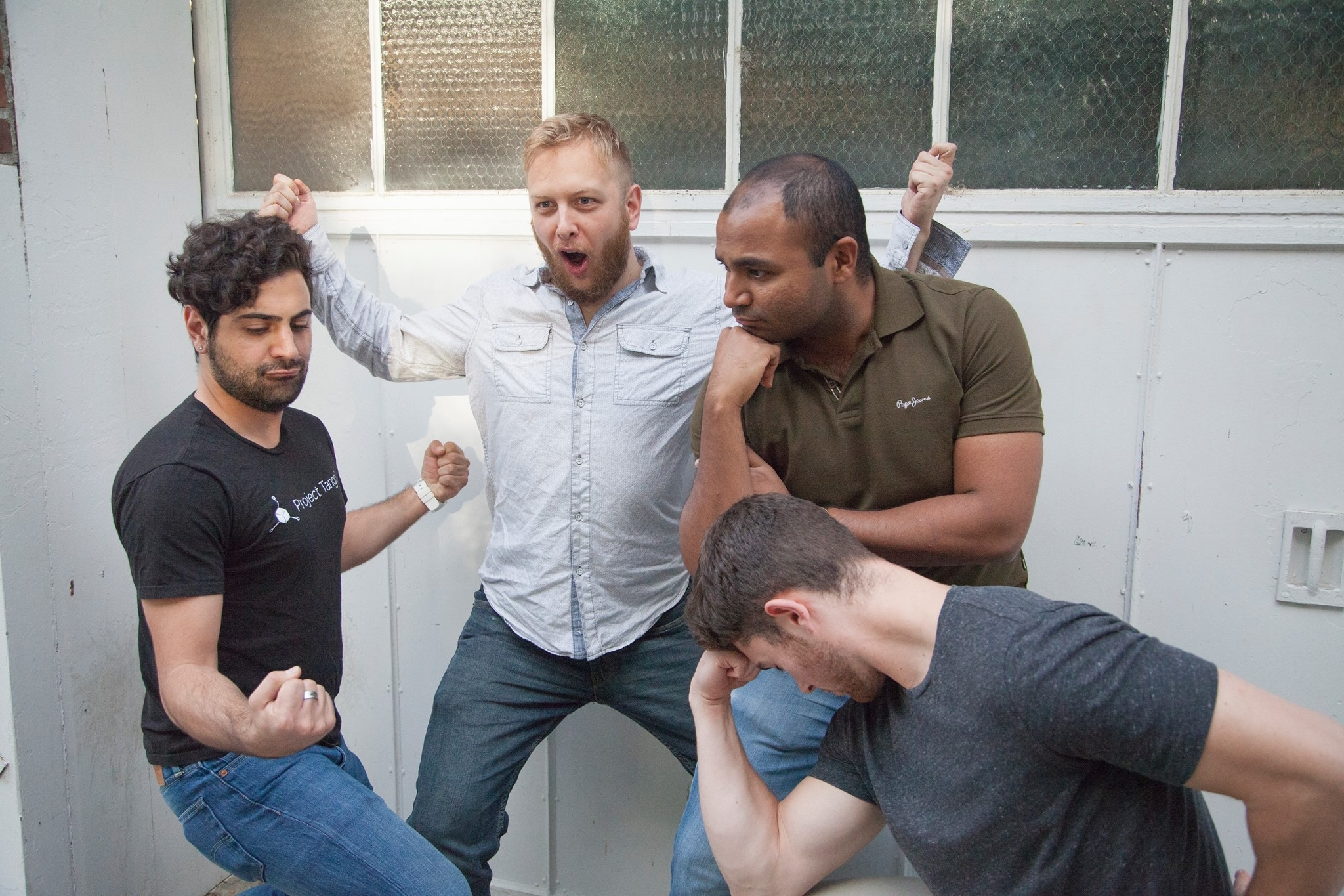 The Redline Team(from left to right): Nima Zeighami, Jesse Comb, Tausif Ahmed, and Michael O'keefe. Not pictured: Eliot Hemingway and Bradley Hawkins.