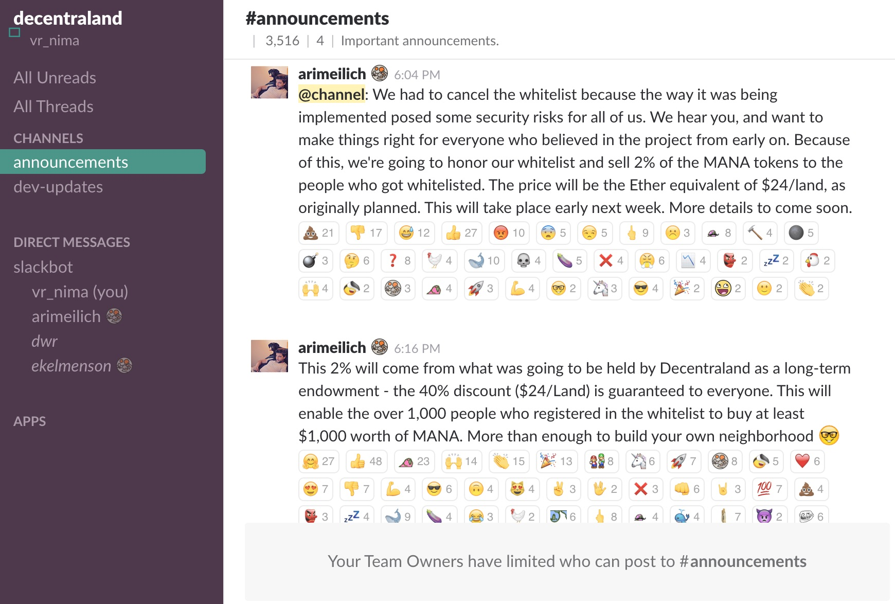What the Slack channel looks like now