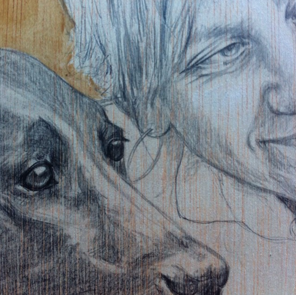 Dog portrait on wood