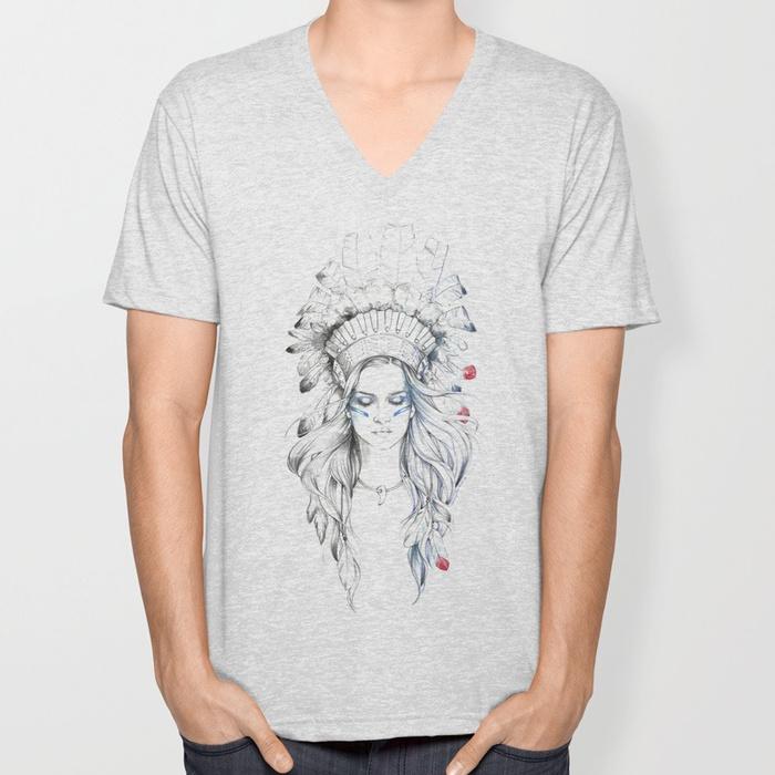 indian-woman-ii-vneck-tshirts.jpg