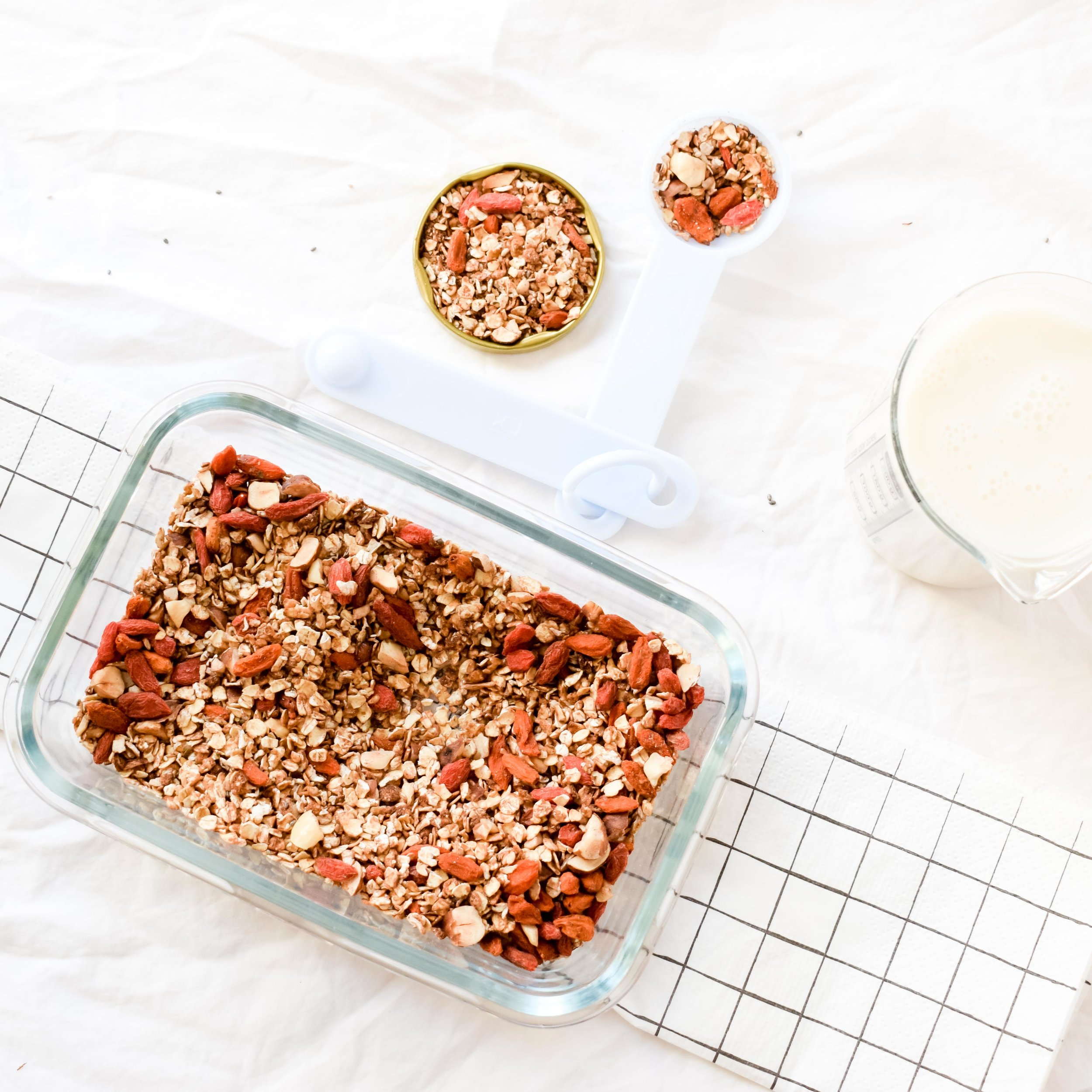 Make your own: find a designated day of the month to do some batch cooking or baking: I like to make my own granola, energy balls or plant-based mylk. -