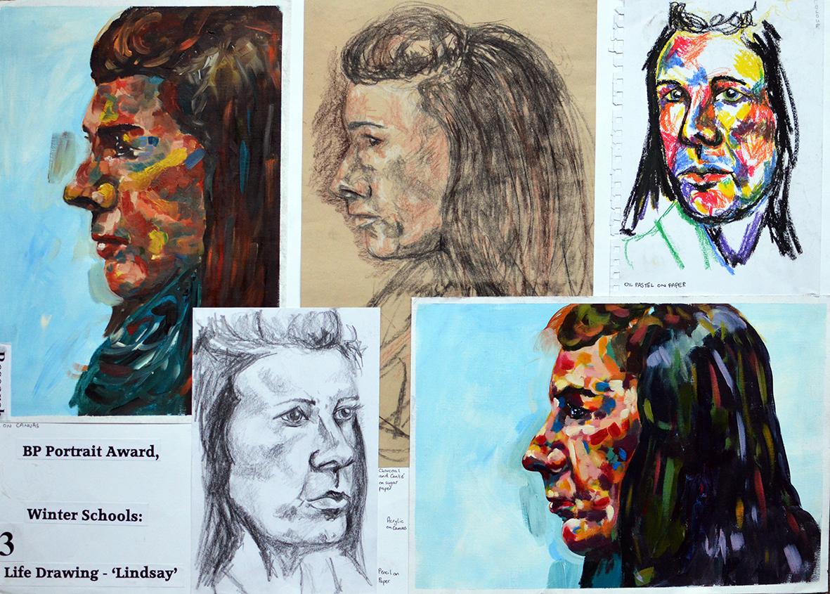 Lindsay, Mixed Media on paper. BP Portrait Award, Winter Schools.