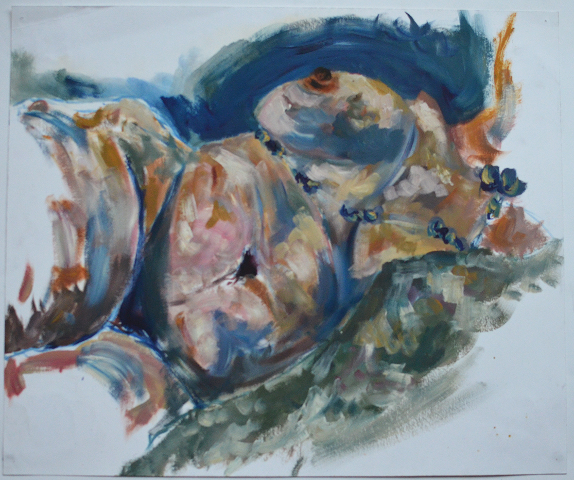 Female Nude, Oil Paint on Paper, Life Drawing Schools, Aberdeen.