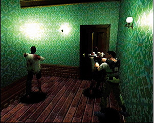 Screenshot of Resident Evil showing how firearms are used to fight zombies.   Ammunition is limited, and managing this limitation is difficult.