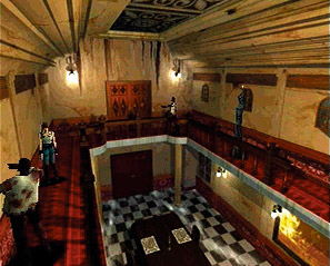"""Screenshot for the original Resident Evil.   This is a horror game that used a low number of """"3D polygons"""" for the time."""