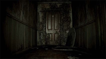 """From this spot, one can see how ominous this door appears.   The idea of """"being anchored"""" allows players to experience fear simply by opening a door."""