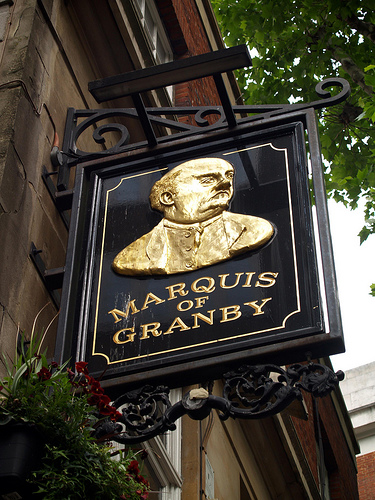 Fun fact:  The Marquis of Granby, lost his wig leading a heroic cavalry charge at the Battle of Minden in 1759. To this day inn signs, including the one hanging above the pub we'll be visiting, never show him wearing a wig.